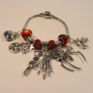 Jewelry - Red Charm Bracelet 13 Skulls Witch Skeleton Spider